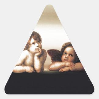 Raphael Sistine Madonnas Cherub Version 2 Triangle Sticker