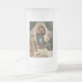 Raphael - The Sistine Madonna Frosted Glass Beer Mug