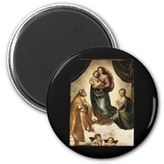 "Raphael's Classic ""Sistine Madonna"" (circa 1513) 2 Inch Round Magnet"