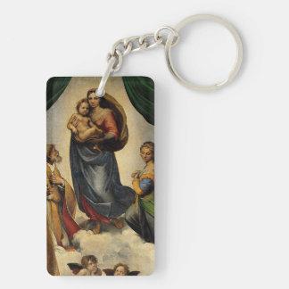 "Raphael's Classic ""Sistine Madonna"" (circa 1513) Double-Sided Rectangular Acrylic Keychain"