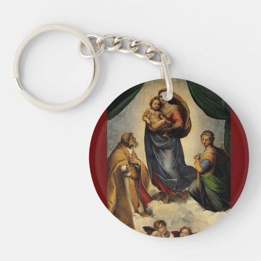 "Raphael's Classic ""Sistine Madonna"" (circa 1513) Double-Sided Round Acrylic Keychain"