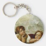 """Raphael's """"Sistine Madonna"""" (circa 1513) (Detail) Basic Round Button Keychain"""