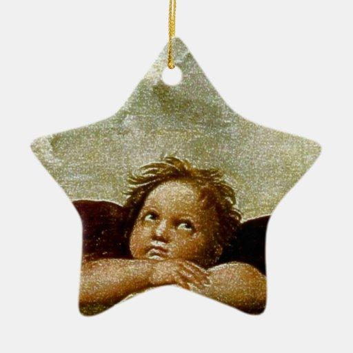 "Raphael's ""Sistine Madonna"" Detail (circa 1513) Double-Sided Star Ceramic Christmas Ornament"