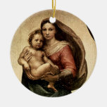 "Raphael's ""Sistine Madonna"" Detail (circa 1513) Double-Sided Ceramic Round Christmas Ornament"