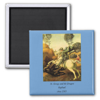 "Raphael's ""St. George and the Dragon"" (circa 1505) 2 Inch Square Magnet"
