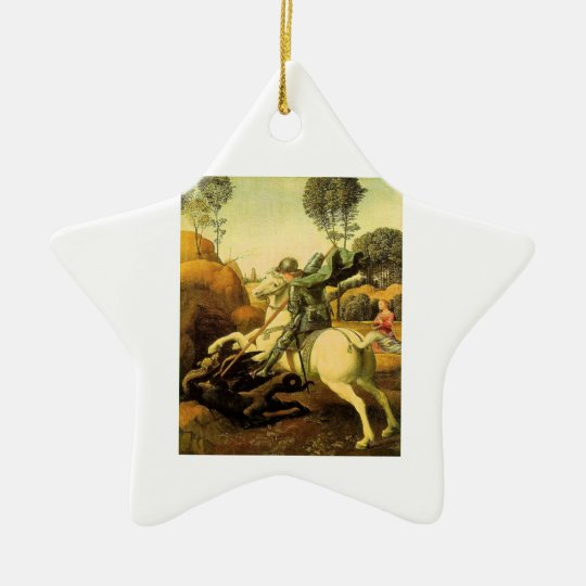 "Raphael's ""St. George and the Dragon"" (circa 1505) Ceramic Ornament"