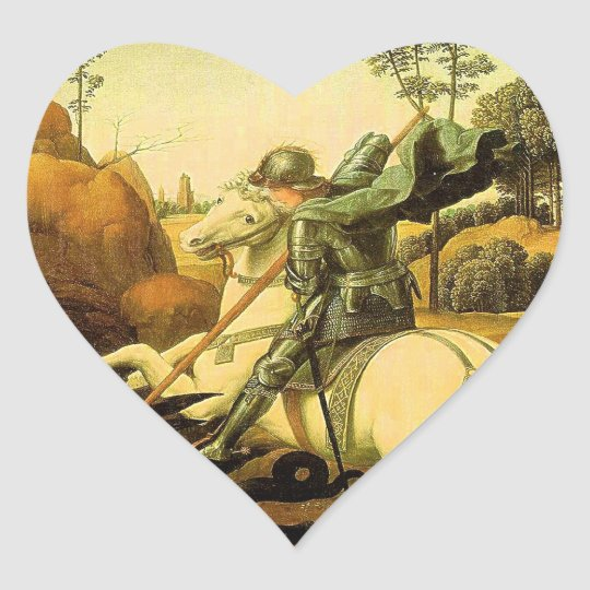 """Raphael's """"St. George and the Dragon"""" (circa 1505) Heart Sticker"""