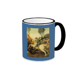 "Raphael's ""St. George and the Dragon"" (circa 1505) Ringer Coffee Mug"