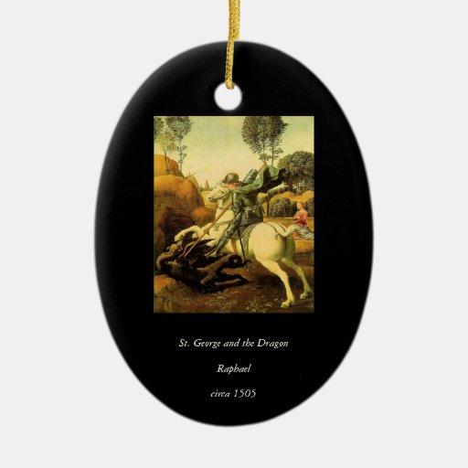 "Raphael's ""St. George and the Dragon"" (circa 1505) Christmas Tree Ornaments"