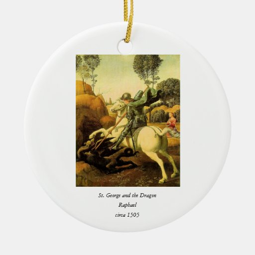 """Raphael's """"St. George and the Dragon"""" (circa 1505) Double-Sided Ceramic Round Christmas Ornament"""