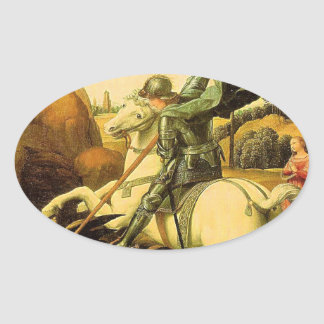 """Raphael's """"St. George and the Dragon"""" (circa 1505) Oval Sticker"""