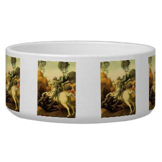 "Raphael's ""St. George and the Dragon"" (circa 1505) Dog Food Bowls"