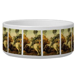 "Raphael's ""St. George and the Dragon"" (circa 1505) Dog Bowls"