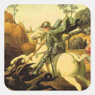 "Raphael's ""St. George and the Dragon"" (circa 1505) Square Sticker"