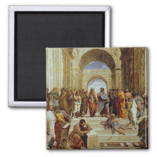 """Raphael's """"The School of Athens"""" Detail circa 1511 2 Inch Square Magnet"""
