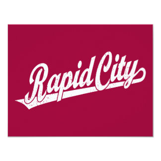 Rapid City script logo in white distressed Custom Announcements