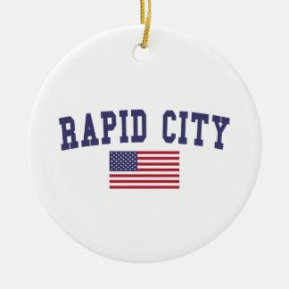 Rapid City US Flag Ceramic Ornament
