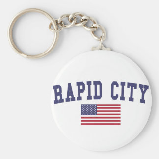 Rapid City US Flag Keychain