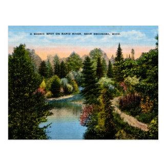 Rapid River Escanaba, Michigan Postcard