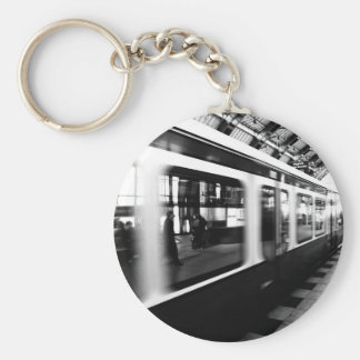 Rapid-transit railway Berlin black Weis photograph Keychain