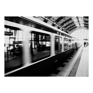 Rapid-transit railway Berlin black Weis photograph Poster