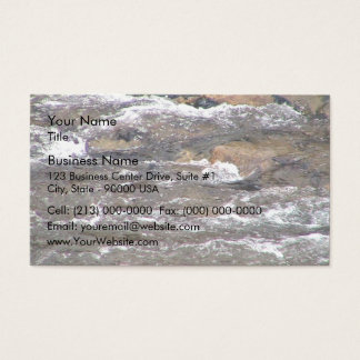 Rapid water flowing over natural rocks business card