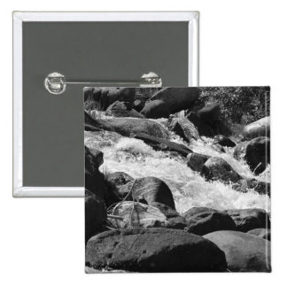 Rapids blancos y negros pin cuadrada 5 cm