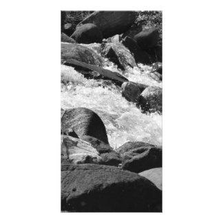 Rapids blancos y negros tarjeta fotográfica personalizada