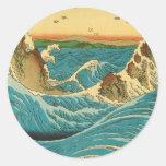 Rapids de Hiroshige Navaro Pegatina Redonda