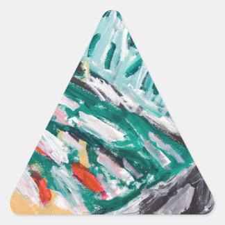Rapids verdes de la montaña (paisaje abstracto) pegatina triangular