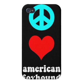raposero americano del amor de la paz iPhone 4/4S carcasa