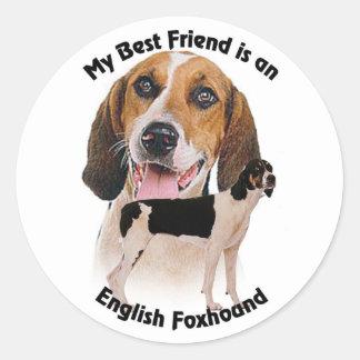 Raposero inglés del mejor amigo pegatina redonda