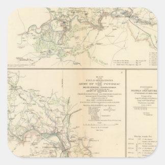 Rappahannock R, Chancellorsville, Fredericksburg Pegatina Cuadrada