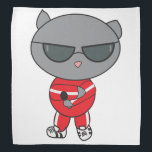 """Rapper Cat in Track Suit Bandana<br><div class=""""desc"""">A rapper gray cat holds a microphone and strikes a pose while wearing a red tracksuit on a bandana.</div>"""