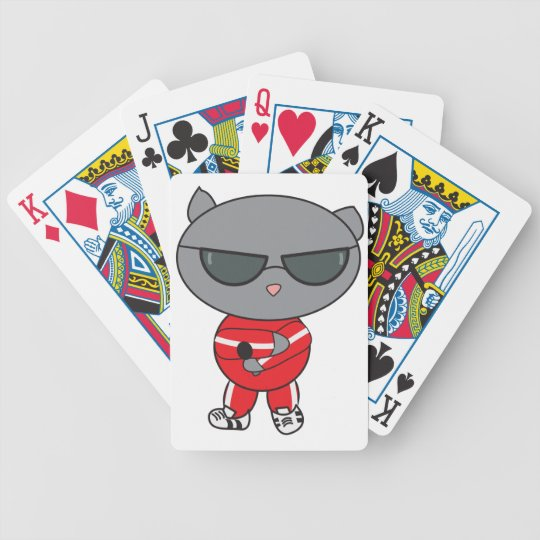 Rapper Cat in Track Suit Bicycle Playing Cards