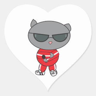 Rapper Cat in Track Suit Heart Sticker