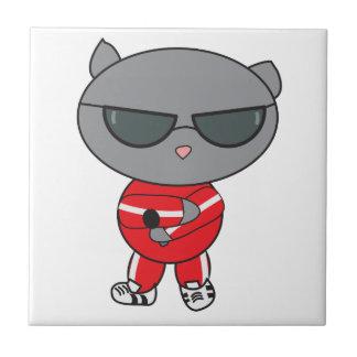 Rapper Cat in Track Suit Ceramic Tiles