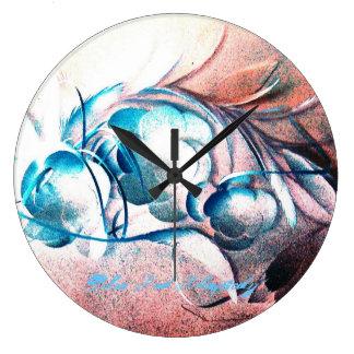 Rapsodia del rojo azul de Roberto E Meisinger Reloj Redondo Grande