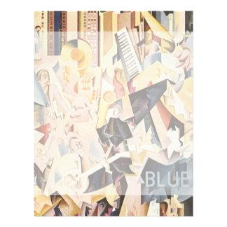 Rapsodia del vintage en música de jazz azul del ar membrete