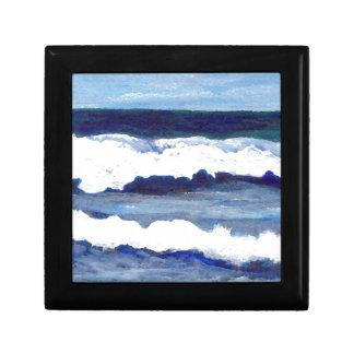 Rapsodia en arte azul de las olas oceánicas de Cri Caja De Joyas