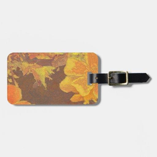 Rapsodia floral en naranja y amarillo etiquetas maletas