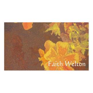 Rapsodia floral en naranja y amarillo tarjetas de visita