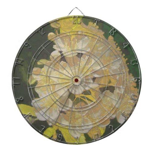 Rapsodia floral en oro y blanco tablero dardos
