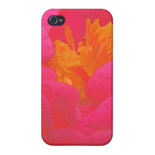 Rapsodia floral en rojo y amarillo iPhone 4/4S fundas