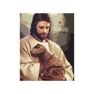 Raptor Jesus Stretched Canvas Print