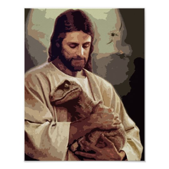 raptor jesus poster zazzle com