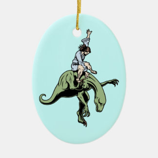 Raptor Rodeo Jesus Christmas Ornaments