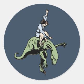Raptor Rodeo Jesus Round Sticker