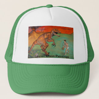 """Raptor vs Sax""  saxophone player with dinosaur Trucker Hat"