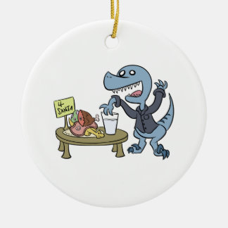 Raptor with Santa Treats Ornament